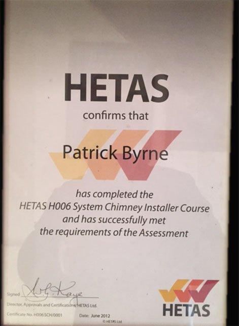 HETAS Certificate
