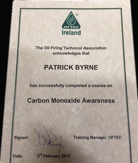 OFTEC Certificate